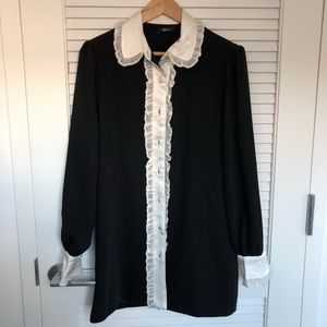 Dresses & Skirts - Black ruffle derailed shirt dress